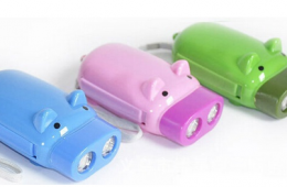 OTH-061 PIG SHAPE HAND PRESSING FLASHLIGHT 2 LED