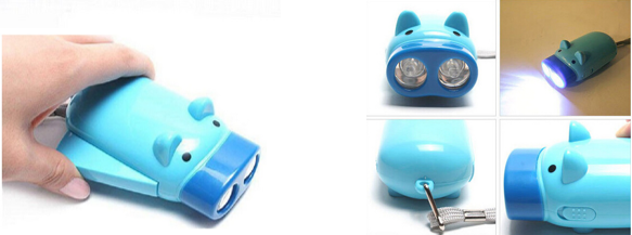 Pig Shape Hand Pressing Flashlight 2 LED.