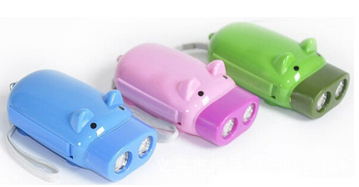 Pig Shape Hand Pressing Flashlight 2 LED